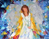 Original oil Christmas ANGEL painting modern impressionism impasto fine art by Karen Tarlton