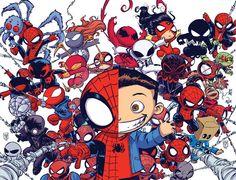 Interlocking Spider-Verse Variant Covers for Superior Spider-Man #32 & Amazing Spider-Man #9 - Skottie Young