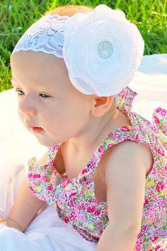 White Baptism Lace silk Flower Headband, Baby to Toddler Headband, Newborn Photo Prop, Christening headband via Etsy