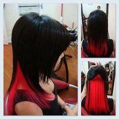 Blacl hair with red peekaboo highlights