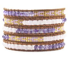 """Lavender Jade Beaded Mix Wrap Bracelet on Natural Brown Leather - Chan Luu. This sectioned wrap bracelet combines semi precious stones and patterned glass seed beads hand woven onto """"natural brown"""" colored leather. Lavender Jade and Amethyst stones are divided by tribal inspired seed beads in, sheen, gold and lavender hues."""