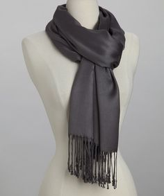 Look at this Gray Pashmina-Silk Blend Scarf on #zulily today!