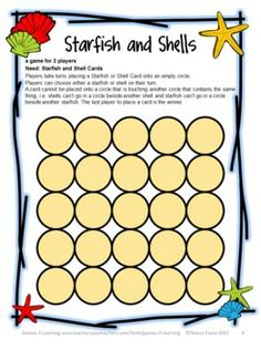 FREEBIE - Shells and Starfish Strategy Game from End of Year Games Freebie by Games 4 Learning - a collection of 3 printable games for End of Year celebrations! Fun Classroom Activities, End Of Year Activities, Literacy Games, Fun Math, Math Games, Summer Activities, Fun Games, Maths, Grammar Games