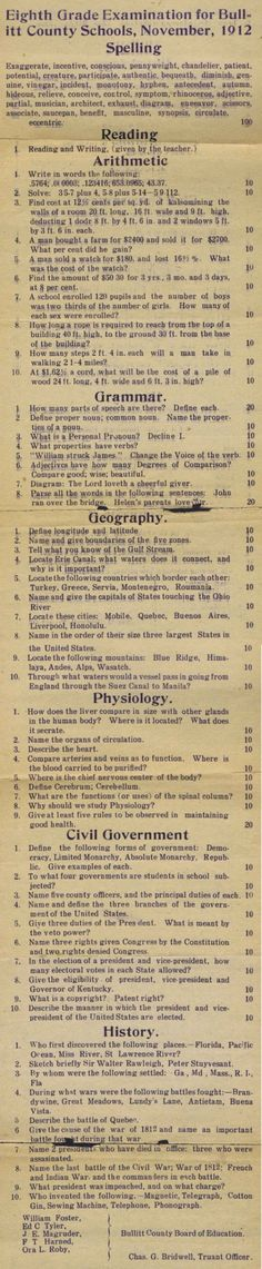 No, you're probably not smarter than an 8th grader from 1912 See how well you'd fare on this 101-year-old quiz for Bullitt County, Ky., junior high students