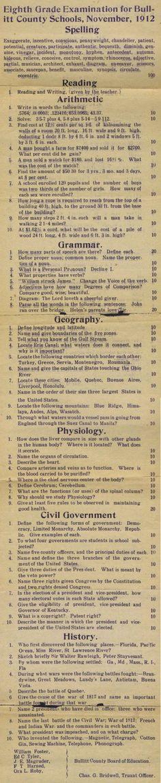 1912 8th grader test
