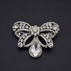 cb24e180b Brooches & Pins,Quality Women Clear Butterfly Silver Rhinestone Big  Crystal Brooch Pin -