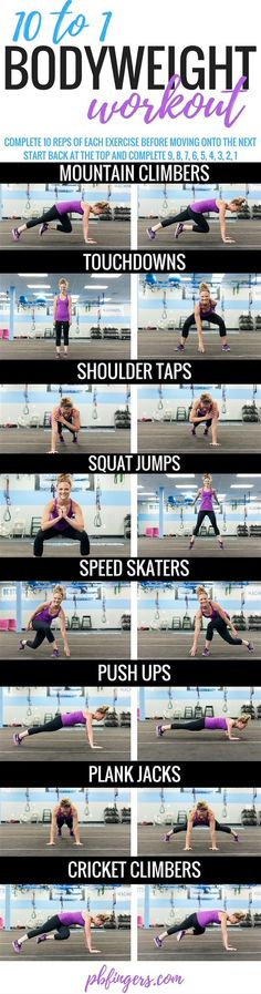 10 to 1 Bodyweight Workout | Peanut Butter Fingers | Bloglovin'