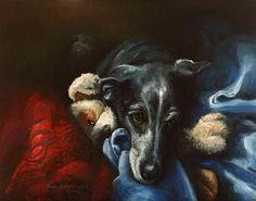"""""""Whippet and His Dog"""" - Original Fine Art for Sale - © Sue Deutscher"""