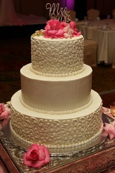 3 - tier stacked wedding cake. Specialty Cakes, Wisteria, Wedding Cakes, Desserts, Food, Wedding Gown Cakes, Meal, Wedding Pie Table, Deserts