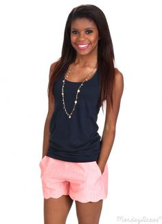 Finally Found You Coral Scalloped Shorts | Monday Dress Boutique