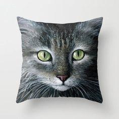 Cat Throw Pillow case, Cat Cushion Case, Throw pillow case, pillow cover, Cat 478 from art painting L.Dumas