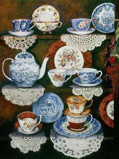 Love the doilies along the edge! // Teacups On Shelves Painting by Carol VonBurnum - Teacups On Shelves Fine Art Prints and Posters for Sale Tea Cup Saucer, Tea Cups, Tea Cup Display, Tee Kunst, Blue And White China, Teapots And Cups, Tea Art, My Tea, Vintage China