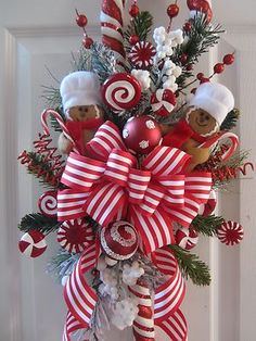 Xmas Swag Gingerbread Ornament Faux Candy Cane Ribbon Floral Decor not Wreath | eBay