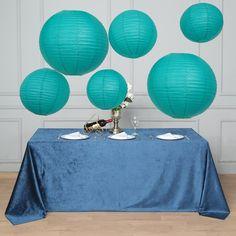 Set of 6 | Turquoise Assorted Chinese Lanterns | Hanging Paper Lanterns With Metal Frame - 16