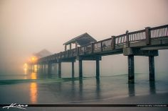 Foggy Sunset at Pier Clearwater Florida Pinellas County Naples Pier, Evening Sunset, Clearwater Florida, Palm Beach Gardens, Amazing Sunsets, Scenery, Play, Photography, Photograph