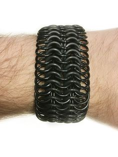 """1.3"""" Wide Black Stretchy Chainmail Metal Bracelet - Mens Womens Unisex - Goth Emo Punk Clothing - Chainmaille Jewellry - Strech Wristband by JohnsChainmailShop from John's Chainmail Shop. Find it now at http://ift.tt/2rWFIK9!"""