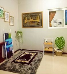 30 Praying Room Ideas To Bring Your Ramadan More Beautiful Home Library Design, Home Room Design, House Design, Decoraciones Ramadan, Prayer Corner, Islamic Wall Decor, Beautiful Home Designs, Prayer Room, Minimalist Home