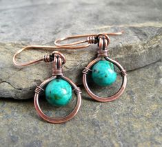 Rustic copper and turquoise earrings from the WireWorkers Guild.