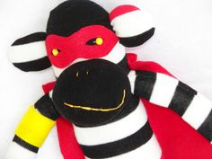 Sock Monkey Doll Superhero Plush Toy  in by AsYouWishCreations4u, $32.00