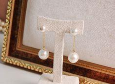 Cotton Pearl 2 way Dangle Line Earrings by CharisJewel on Etsy, $23.00