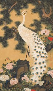 伊藤若冲「孔雀鳳凰図」(江戸時代中期、絹本着色、双幅、岡田美術館蔵)