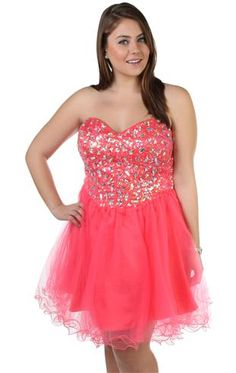 Red Plus Size Short Dresses