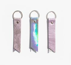 Holographic Leather Keyring Hologram Leather Key by gmaloudesigns