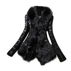 441032aec98 Nantersan Men s Leather Jacket Stand Collar PU Mens Faux Fur Coats  Motorcycle Jacket