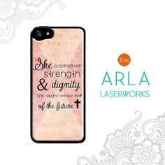 "Christian Bible Quote iPhone 4s 5s Case ""She is clothed in strength and dignity..."" Pink Geometric Quote iPhone Cover"