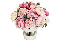 "14"" Peonies in Cache Planter, Faux"