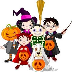 Cute trick-or-treaters graphic from Geocaching