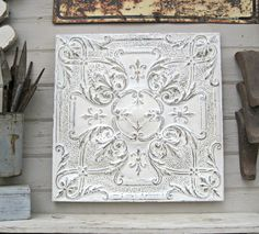 antique tin ceiling tile 10th tin anniversary gift 4x2 metal tile antique architectural salvage vintage white distressed decor - Antique Tin Ceiling Tiles