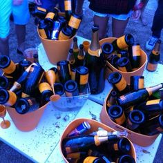 Small champagne bottles