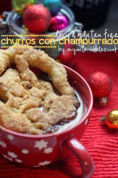 Dairy free and gluten free churros and indulgent dairy free atole are the perfect festive snack. Best Gluten Free Recipes, Allergy Free Recipes, Gluten Free Snacks, Mexican Atole Recipe, Mexican Food Recipes, Dessert Recipes, Gluten Free Pastry, Gluten Free Baking, Churros