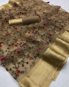 RESTOCKED ON HIGH DEMAND Organza silk saree with embroidery Price