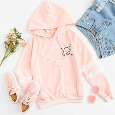 Drop Shoulder Faux Fur Hoodie - Fashion Source by hanschke - Cute Comfy Outfits, Teenage Outfits, Cute Casual Outfits, Teen Fashion Outfits, Mode Outfits, Cute Summer Outfits, Simple Outfits, Cute Fashion, Outfits For Teens