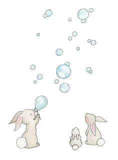 "Baby Nursery Art Giclee Print, for a 10 x 8"" frame, Bunnies & Bubbles. £15.00, via Etsy.:"