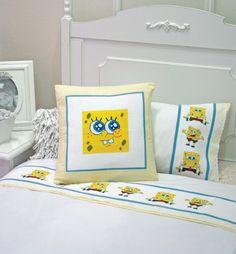 Jogo de cama e almofada do Bob Esponja / DIY, Craft, Upcycle