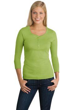 Women's #Scoop #Henley - Buy #wholesale new district threads junior ladies 3/4-sleeve perfect weight scoop henley at Gotapparel.com.