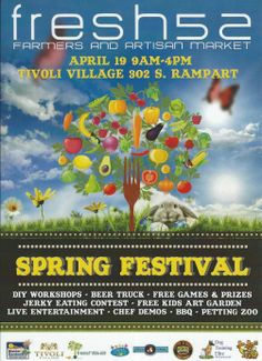 Please join us at #Fresh52 FarmersMarket Spring Harvest Festival on April 19th, Saturday, 9am-4pm at Tivoli Village 302 S Rampart.  Las Vegas. NV 89145 There will be DIY workshops, Free games and prizes, petting zoo, kids art garden, beer truck, beef jerky eating contest, chef demos, live entertainment, BBQ and of course shopping local with all your favorite fresh52 vendors!  Tell your family and friends! We hope to see you there! @fresh52 Farmers & Artisan Market