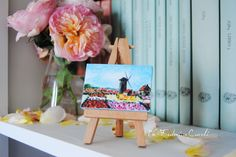 Mini painting Monet, pink and red flowers, wedding favours, tag wedding, romantic gift for girl