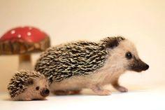 Needle felt Hedgehog with baby
