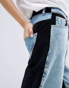 Buy ASOS WHITE Velvet Mix Boyfriend Jean at ASOS. Get the latest trends with ASOS now. Sewing Clothes, Custom Clothes, Diy Clothes, Clothes For Women, Denim Fashion, Fashion Outfits, Curvy Fashion, Fall Fashion, Fashion Trends
