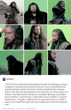 Richard on Thorin in behind the scenes filming.  This breaks my heart.  He did not unpack for 2-3 weeks.