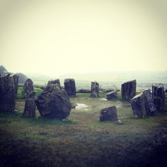 DROMBEG STONE CIRCLE - CORK, IRELAND |  Also known as the 'Druid's Altar', the circle is a megalithic formation that once consisted of 17 stones (only 13 remain) out in the countryside of Cork County, Ireland. Radiocarbon dating of human remains found at the site during a 1957 excavation suggests that the area was built and actively used between 1100-800 BC. Now the site is secluded, tucked away between verdant farmland and network of country roads.