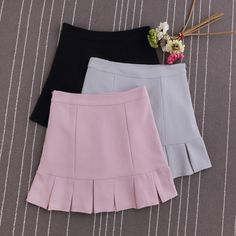 Preppy Style Pleated High Waist Pink A-line Skirts