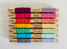 Bright and pastel rainbow colour palette. Bendigo Woollen Mills cotton and limited edition cotton crush.