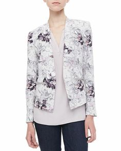 Floral-Print Ponte Blazer & Crepe/Lace Tee by Rebecca Taylor at Neiman Marcus.
