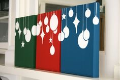 Holiday Baubles, from Senn & Sons -- Christmas painted canvas idea