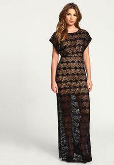 Black Crochet Maxi Column Dress,